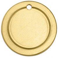 Metalen label, ring, d: 20 mm, gatgrootte 1,85 mm, dikte 1 mm, koper, 6 stuk/ 1 doos