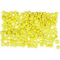 Rocailles, d: 3 mm, afm 8/0 , gatgrootte 0,6-1,0 mm, geel, 500 gr/ 1 doos