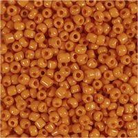Rocailles, d: 3 mm, afm 8/0 , gatgrootte 0,6-1,0 mm, oranje, 500 gr/ 1 doos