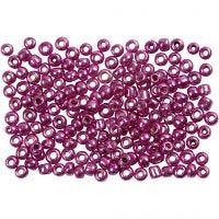 Rocailles, d: 3 mm, afm 8/0 , gatgrootte 0,6-1,0 mm, metallic paars, 500 gr/ 1 doos