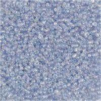 Rocailles, d: 1,7 mm, afm 15/0 , gatgrootte 0,5-0,8 mm, lichtblauw, 500 gr/ 1 zak