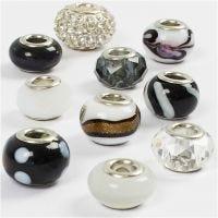 Glas link kralen, d: 13-15 mm, gatgrootte 4,5-5 mm, zwart/wit harmonie, 10 div/ 1 doos