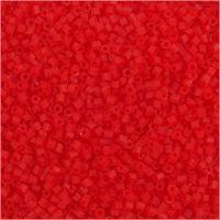 2-cut, d: 1,7 mm, afm 15/0 , gatgrootte 0,5 mm, transparant rood, 25 gr/ 1 doos