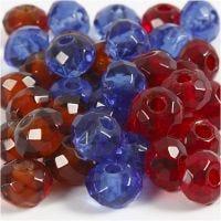 Facetglas links, afm 9x14 mm, gatgrootte 4 mm, blauw, bruin, rood, 36 stuk/ 1 doos