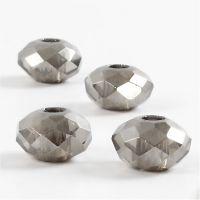 Facetglas links, afm 9x14 mm, gatgrootte 4 mm, donkergrijs, 4 stuk/ 1 doos