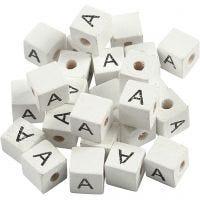 Letterkralen, A, afm 8x8 mm, gatgrootte 3 mm, wit, 25 stuk/ 1 doos
