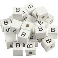 Letterkralen, B, afm 8x8 mm, gatgrootte 3 mm, wit, 25 stuk/ 1 doos