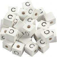 Letterkralen, C, afm 8x8 mm, gatgrootte 3 mm, wit, 25 stuk/ 1 doos