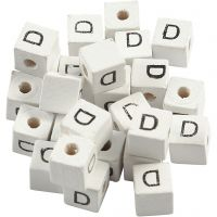 Letterkralen, D, afm 8x8 mm, gatgrootte 3 mm, wit, 25 stuk/ 1 doos