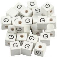 Letterkralen, G, afm 8x8 mm, gatgrootte 3 mm, wit, 25 stuk/ 1 doos