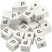 Letterkralen, P, afm 8x8 mm, gatgrootte 3 mm, wit, 25 stuk/ 1 doos