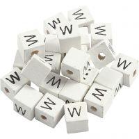 Letterkralen, W, afm 8x8 mm, gatgrootte 3 mm, wit, 25 stuk/ 1 doos