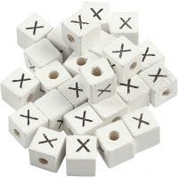 Letterkralen, X, afm 8x8 mm, gatgrootte 3 mm, wit, 25 stuk/ 1 doos