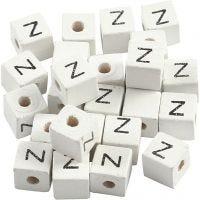 Letterkralen, Z, afm 8x8 mm, gatgrootte 3 mm, wit, 25 stuk/ 1 doos