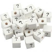 Letterkralen, ?, afm 8x8 mm, gatgrootte 3 mm, wit, 25 stuk/ 1 doos