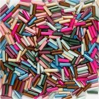 Kralen mix, L: 6 mm, d: 1,5-2 mm, gatgrootte 1 mm, metallic kleuren, 130 gr/ 1 doos