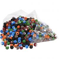 Link kralen, afm 8x10 mm, gatgrootte 5 mm, diverse kleuren, 300 gr/ 1 doos