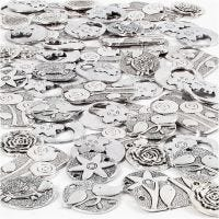 Hanger, afm 20-37 mm, gatgrootte 2+2,5 mm, Inhoud kan variëren , antiek zilver, 278 stuk/ 1 doos