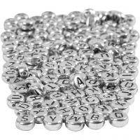 Letterkralen, d: 7 mm, gatgrootte 1,2 mm, zilver, 165 gr/ 1 doos