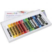 Textielkrijt, diverse kleuren, 15 stuk/ 1 doos