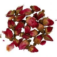 Gedroogde bloemen, Rozenknoppen, L: 1 - 2 cm, d: 0,6 - 1 cm, donkerroze, 1 doos