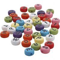 Ronde letterkralen, d: 7 mm, gatgrootte 1-2 mm, diverse kleuren, 25 gr/ 1 doos