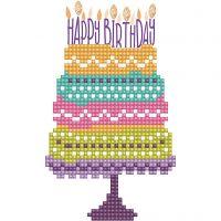 Diamond Dotz, Verjaardagstaart, afmeting kaart 12,6x17,7 cm, afmeting envelop 13,6x18,6 cm, 1 doos