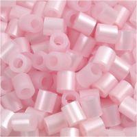 Strijkkralen, afm 5x5 mm, gatgrootte 2,5 mm, medium, roze parelmoer (32259), 6000 stuk/ 1 doos