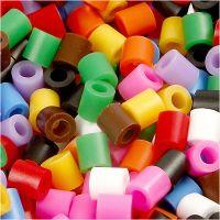 Strijkkralen, afm 5x5 mm, gatgrootte 2,5 mm, medium, standaardkleuren, 6000 div/ 1 doos