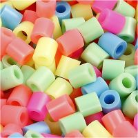 Strijkkralen, afm 5x5 mm, gatgrootte 2,5 mm, medium, pastelkleuren, 30000 div/ 1 doos