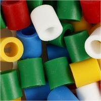 Strijkkralen, afm 10x10 mm, gatgrootte 5,5 mm, JUMBO, standaardkleuren, 1000 div/ 1 doos