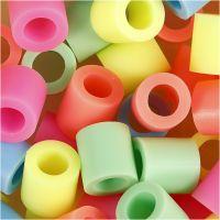 Strijkkralen, afm 10x10 mm, gatgrootte 5,5 mm, JUMBO, pastelkleuren, 3200 div/ 1 doos