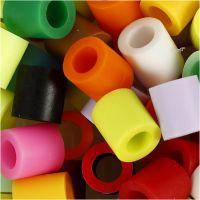 Strijkkralen, afm 10x10 mm, gatgrootte 5,5 mm, JUMBO, extra kleuren, 2450 div/ 1 emmer