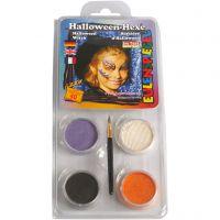 Eulenspiegel Schmink - Motieven set, halloween heks, diverse kleuren, 1 set