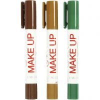 Playcolor Make up, lichtbruin, donkerbruin, groen, 3x5 gr/ 1 doos