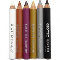 Schmink potloden, L: 9 cm, extra kleuren, 6 stuk/ 1 doos