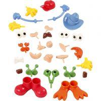 Lichaamsdelen, afm 0,8-6,8 cm, diverse kleuren, 26 stuk/ 1 doos