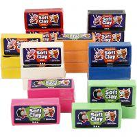 Soft Clay, afm 13x6x4 cm, diverse kleuren, 24x500 gr/ 1 doos
