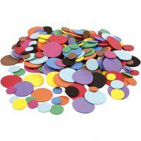 EVA Foam cirkels, d: 12+20+32 mm, diverse kleuren, 300 div/ 1 doos