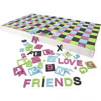 EVA Foam Cijfers & Letters, afm 30x30 mm, zwart, groen, roze, turquoise, 1800 div/ 1 doos