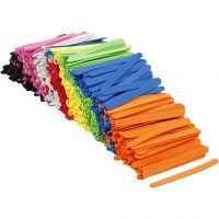 EVA foam ijsstokjes, L: 11,5 cm, B: 1 cm, dikte 2 mm, diverse kleuren, 1000 stuk/ 1 doos