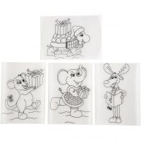 Krimpfolie met motieven, 10,5x14,5 cm, mat transparant, 4 vel/ 1 doos