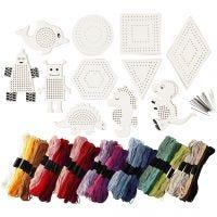 Figuren met borduurgaren, afm 8-17 cm, diverse kleuren, 1 set