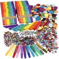 Glitter en houten stokjes, diverse kleuren, 1 set