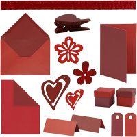 Happy Moments - Kaarten maken, rood, wijnrood, rood/wijnrood, wijnrood/rood, 160 eenh./ 1 doos