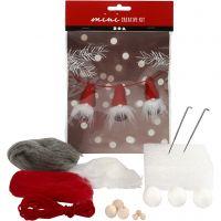 Creative mini kit, kerstkabouter aan een touw, H: 6 cm, 1 set