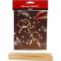 Creative mini kit, traditionele Yule-geit van stro, H: 7 cm, 1 set