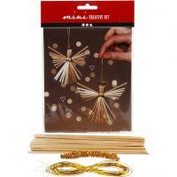 Creative mini kit, engel van stro, H: 8 cm, 1 set
