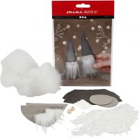 Creative mini kit, Scandinavische kerstkabouters, H: 12 cm, grijs, 1 set