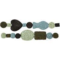 Luxe kralen, d: 6-37 mm, gatgrootte 2 mm, blauw/groen harmonie, 1 set
